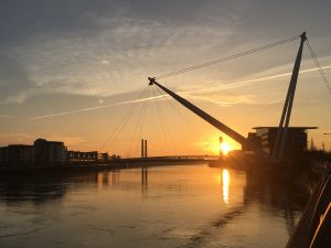 The River Usk in Newport at sunrise in December